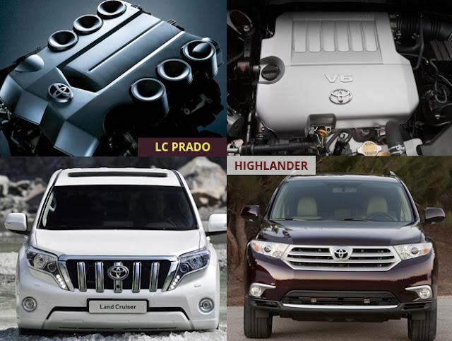 toyota highlander prado vs 2 -  - Mua xe nhập khẩu 7 chỗ Toyota Land Cruiser Prado hay Highlander 2016 tại Việt Nam ?