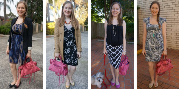 4 outfit ideas with balenciaga pink sorbet city bag in the office awayfromtheblue