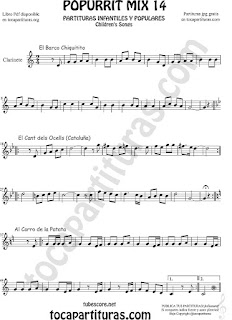 Partitura de Clarinete Popurrí Mix 14 Chiquitito, El Cant dels Ocells, Al corro de la patata Sheet Music for Clarinet Music Score
