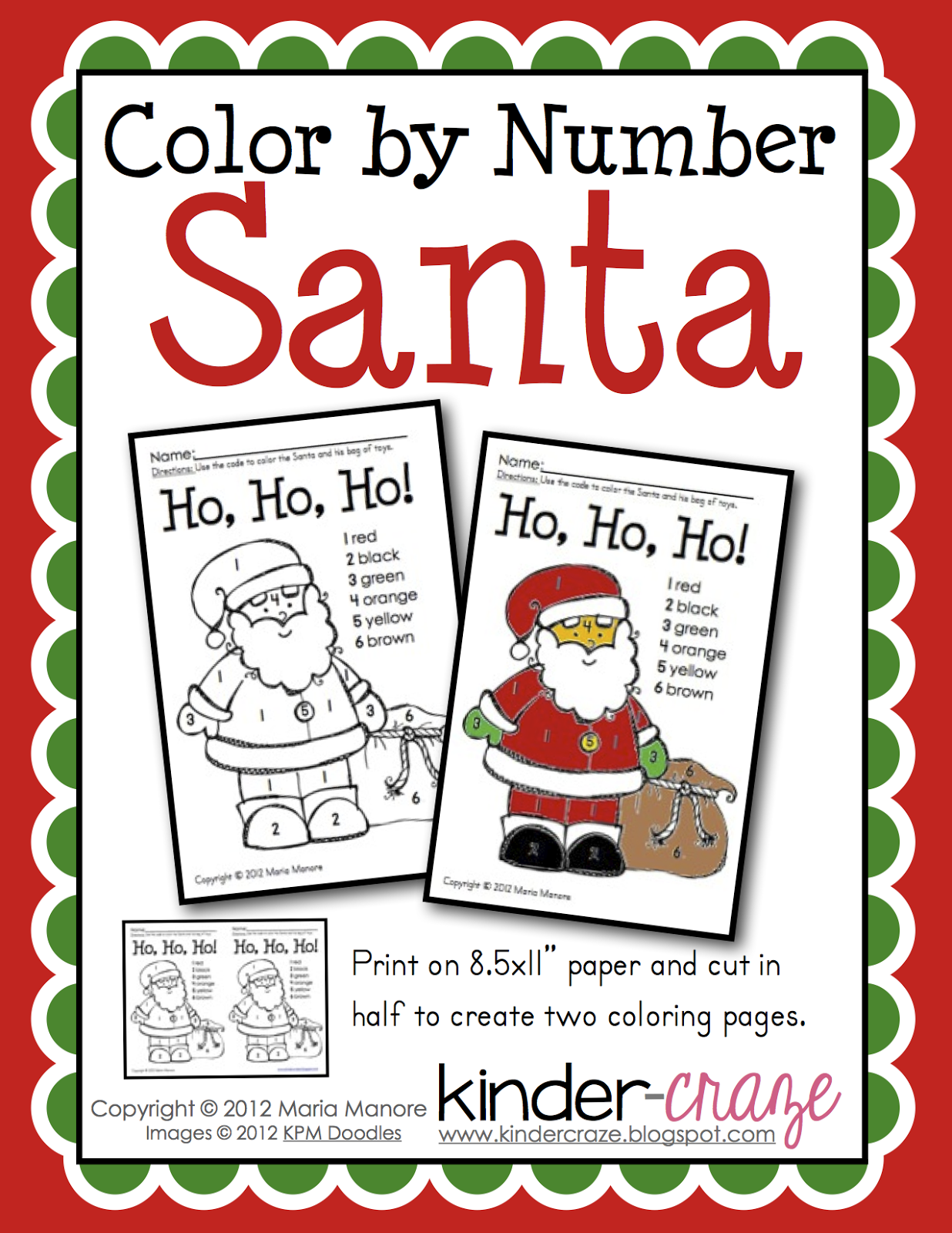 Classroom Freebies Too Santa Color by Number