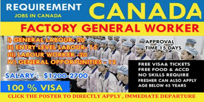 Apply For Factory worker/General Labourers Job Recruitment in Canada - Jobs in Canada