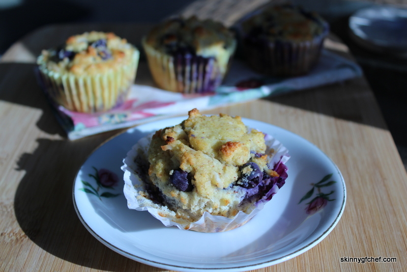 Light fluffy Grain-Free, Dairy-Free Blueberry Coconut Muffins that are sugar-free and delicious!
