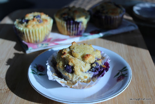 Grain-Free, Dairy-Free Blueberry Coconut Muffins,sugar-free - Skinny GF Chef healthy and great tasting gluten free recipes