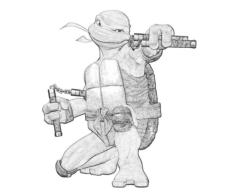 Ninja Turtle Coloring Pages Michelangelo