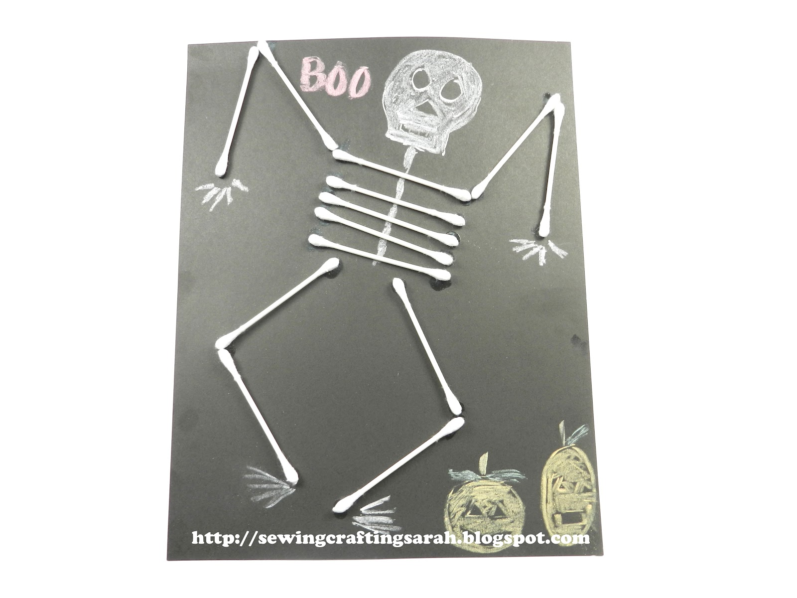 Sewing and crafting with sarah q tip skeletion kids for Q tip skeleton craft template