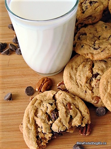 Aunt Joan's Jumbo Peanut Butter Chocolate Chip Cookies with a glass of milk.