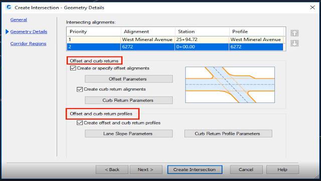 Create intersection properties in Autodesk Civil 3D