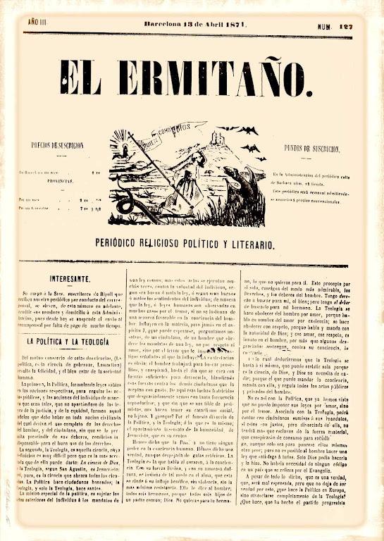 A política e a teologia, El Ermitaño nº 127, 18 de abril de 1871