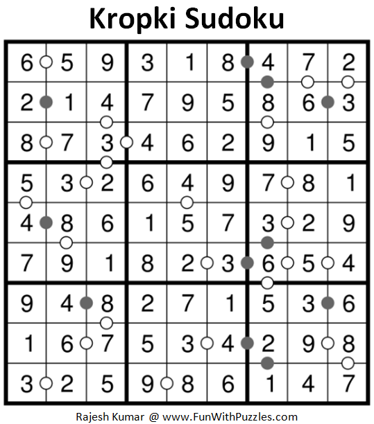 Kropki Sudoku Puzzle (Fun With Sudoku #219) Solution