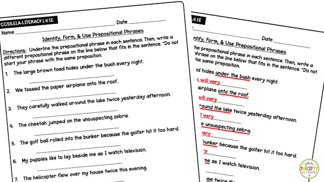Prepositions and prepositional phrases worksheets are a quick way to assess students understanding of the skill.