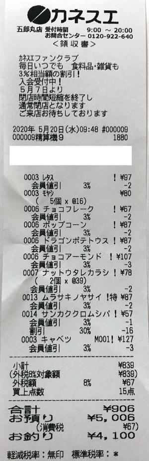 カネスエ 五郎丸店 2020/5/20 のレシート