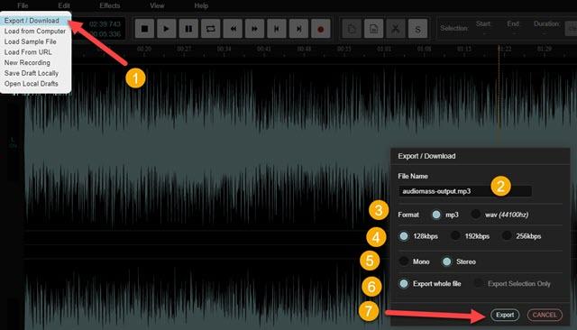 esportazione del file audio editato