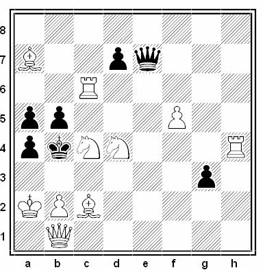 Problema de mate en 2 compuesto por Peter Gvodzyak y L'udovit Lacny (1º Premio, Hlas l'udu 1988)