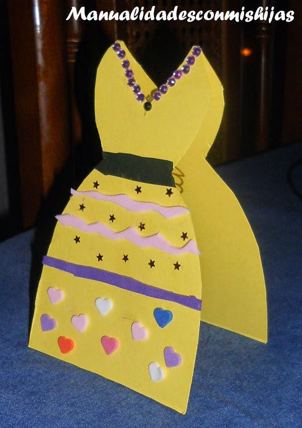 Manualidades Con Mis Hijas Tarjeta Vestido