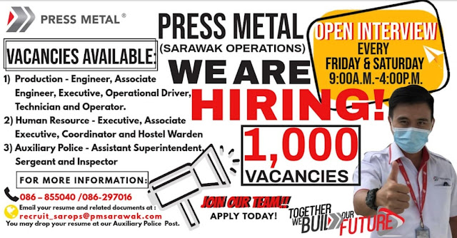 OPEN INTERVIEW Lebih 100 Kerja Kosong Press Metal Mukah