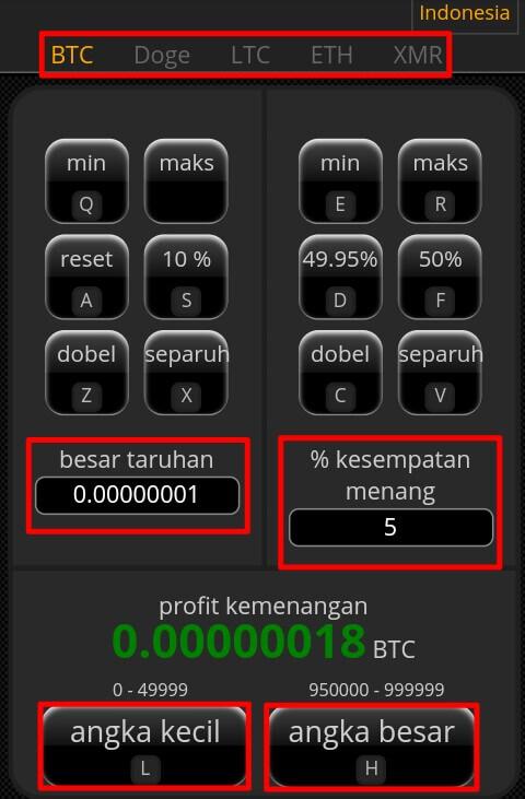 Silahkan pilih coin yang akan dimainkan > Isi jumlah yang akan dipertaruhkan > Persen kesempatan menang.