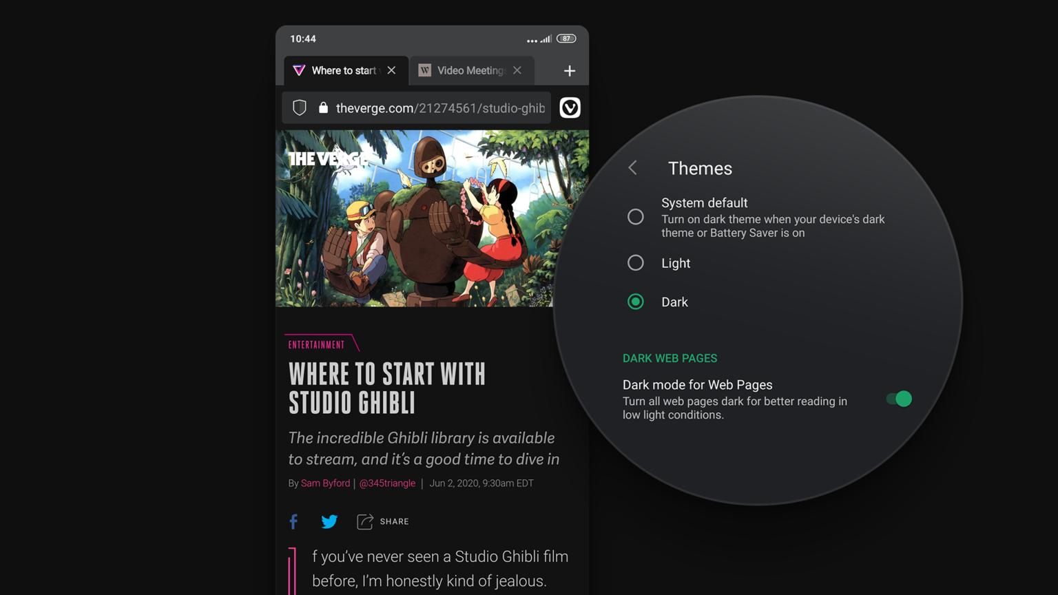 Vivaldi Browser per Android mostra i siti Web in Dark Mode