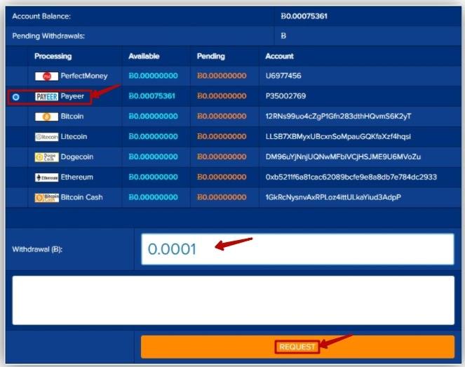 Вывод средств в CloudBTC 2