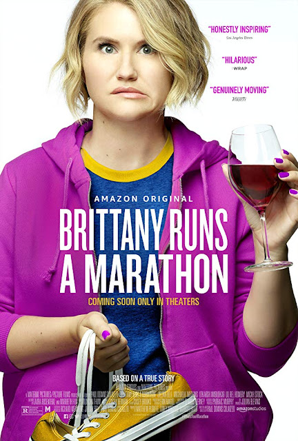 Amazon Studios's 2019 film Brittany Runs a Marathon movie poster starring Jillian Bell, Michaela Watkins, Micah Stock, Utkarsh Ambudkar, and Lil Rel Howery