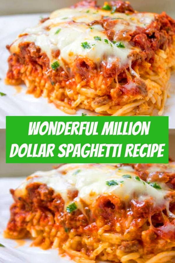 Million Dollar Spaghetti is a DELICIOUS easy dinner idea! The noodles are layered with a cheesy center and topped with a yummy homemade meat sauce and cheese. #spaghetti #cheese #homemaderecipes #dinner
