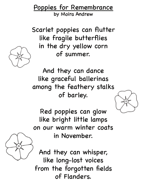 Poppies for Remembrance Poem by Moira Andrew: Free Printable