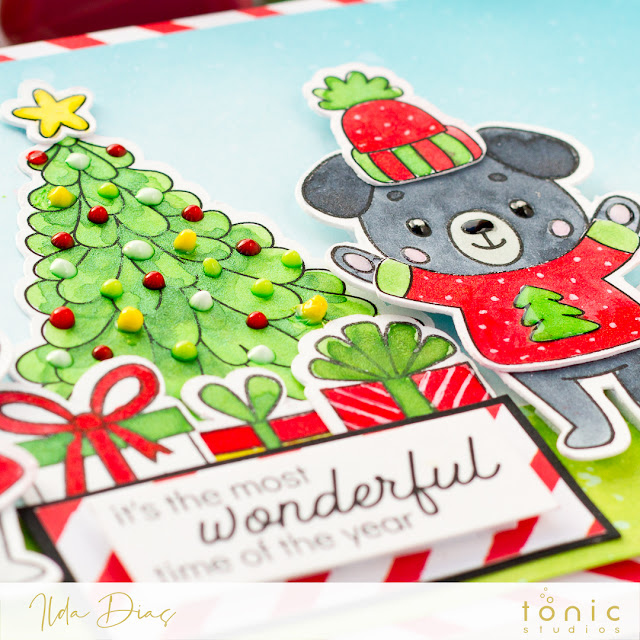 Water Coloring Christmas Outfit Critters with Shimmer Powders | Tonic Studio by ilovedoingallthingscrafty.com