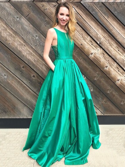 Princess Scoop Neck Satin Floor-length Pockets Prom Dresses