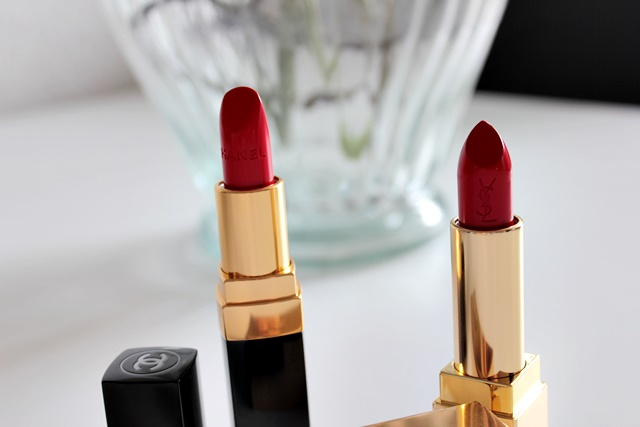 chanel coco #440Arthur, yves saint laurent rouge pur couture #1 le rouge, roter lippenstift, beauty, dekorative kosmetik, high end lipstick