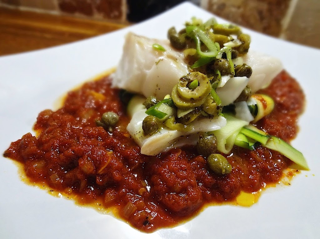 Steamed Cod & Hot Tomato Sauce