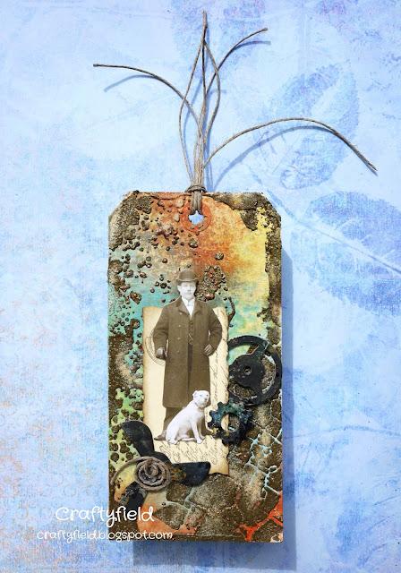 Texture medium, stencils, paper doll