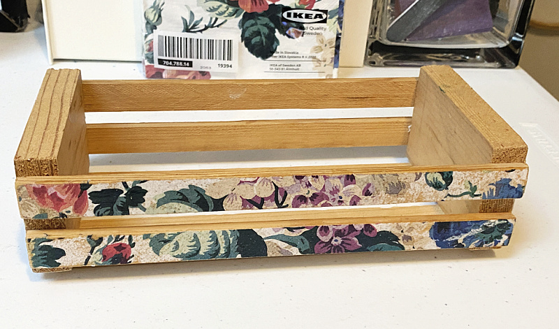 floral decoupaged wooden crate