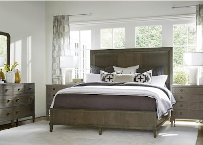 gray queen bed from the Playlist Collection