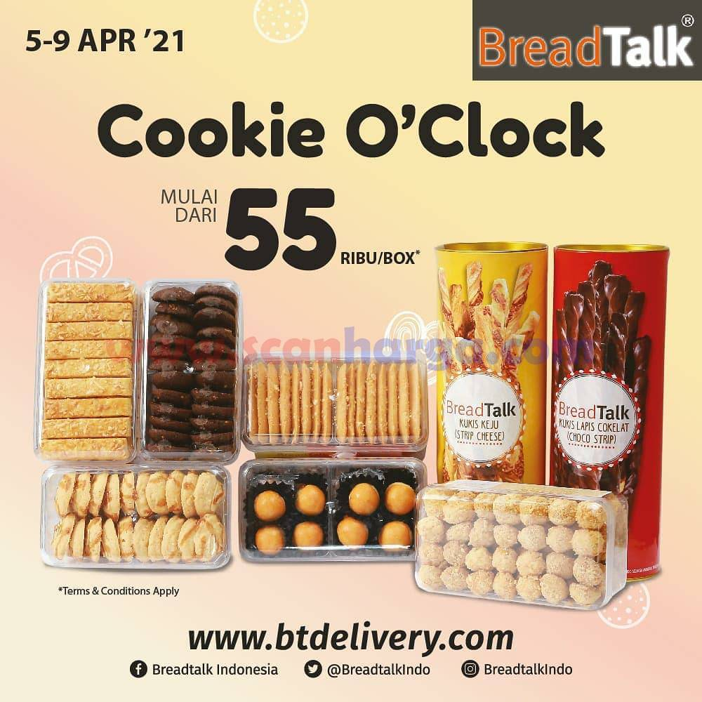 Breadtalk Promo Cookie O'clock harga mulai dari Rp 55 Ribu /box