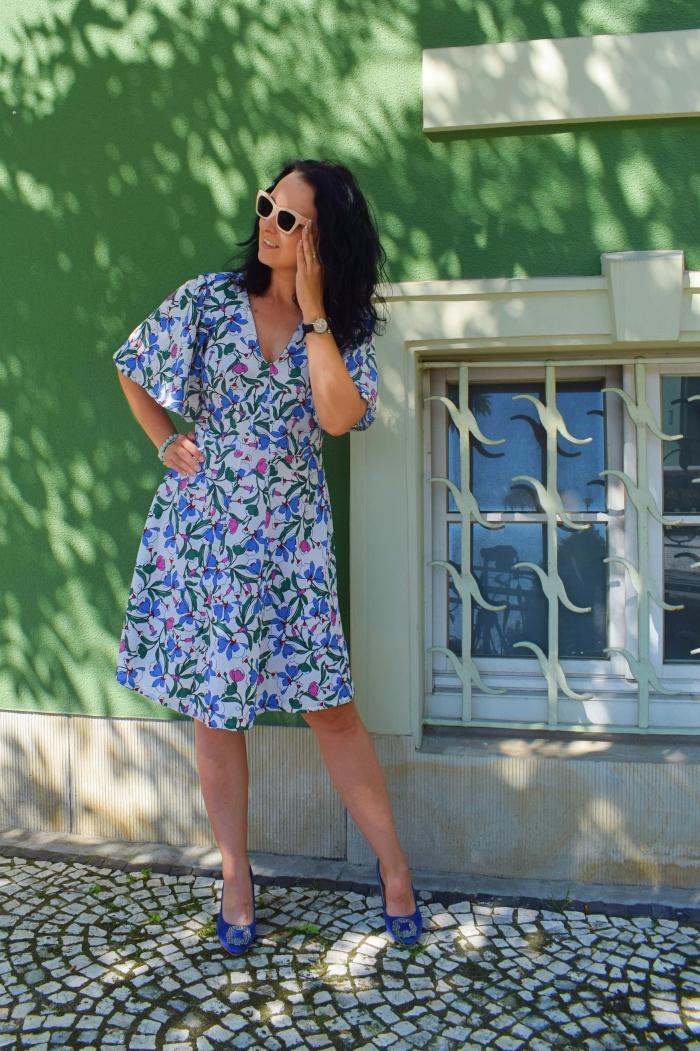 Sukienka motylek uszyta z wykroju Burda 06/2016