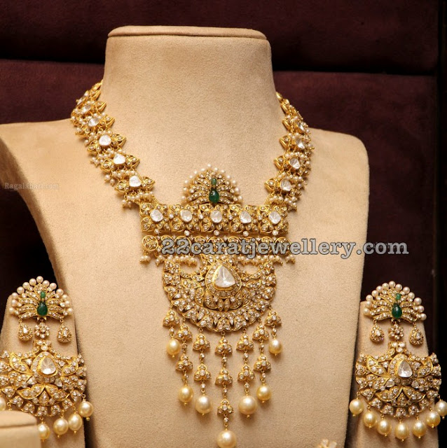 Pearls Polki Set by Musaddilal Jewellers