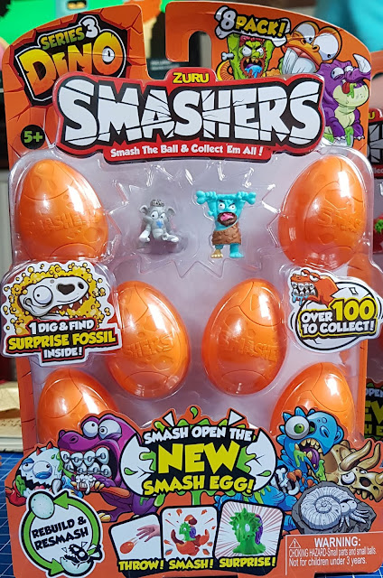 Series 3 Dino Smashers 8 Pack showing toys through plastic covering