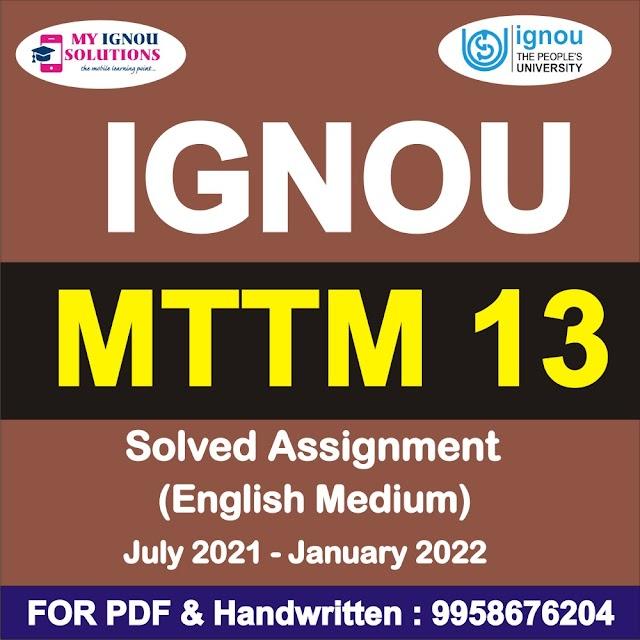 MTTM 13 Solved Assignment 2021-22