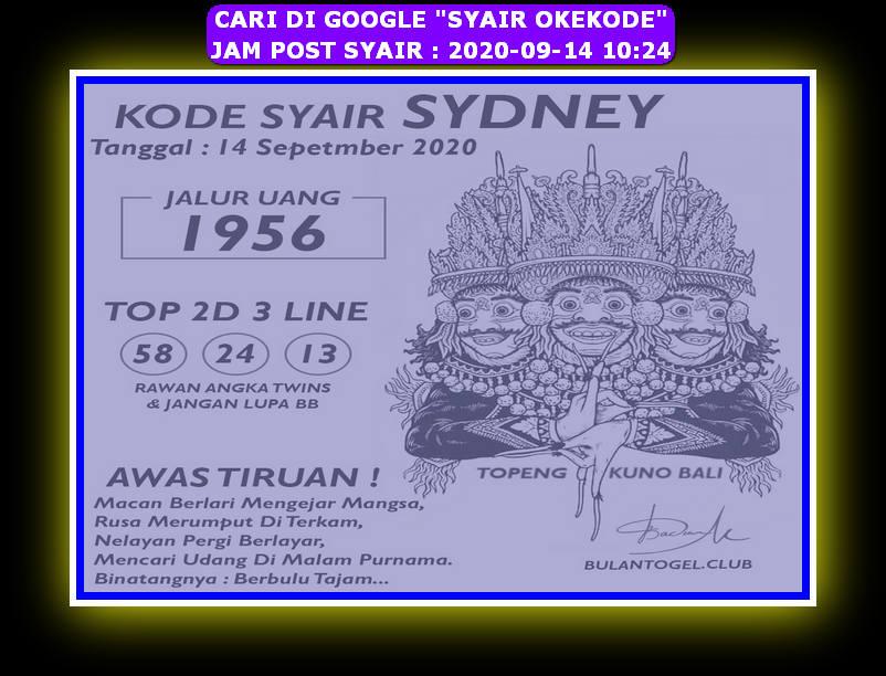 Kode syair Sydney Senin 14 September 2020 172