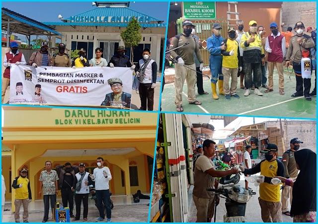Tim DPC PKS Melakukan Kegiatan Semprot Disinfektan Bersamaan Bagi-bagi Masker Gratis 19 titik Masjid