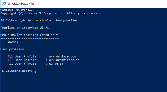 cara melihat password wifi dengan command prompt line windows