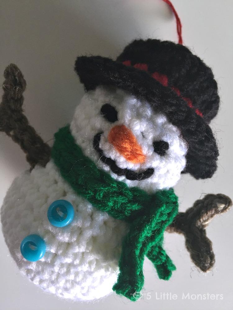 5 Little Monsters Crocheted Snowman Ornament