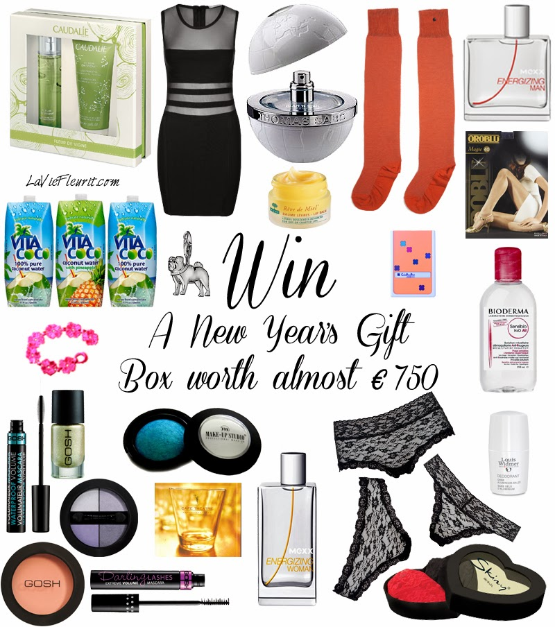 Holiday Give-Away | New Year's Gift Box worth almost € 750 ! Giveaway, Win, Winactie, Holiday, Fashion, Beauty, Lifestyle, blog, Brands, Must Have, Wish List, Accessories, Make-Up, WINNEN, Xmas, Kerst, Bblogger, Fashionblogger, Mode, Modeblogger, Lifestyleblogger, Ella Luna, Parfum, bodylotion, accessoires, GOSH, Mexx, Thomas Sabo, Skiny, Lingerie, Black & Blanche, Caudalie, Cafe Theathre, Music, CD, Bioderma, Verzorging, Nuxe, Oroblu, Louis Widmer, Make-Up Studio, Vita Coco, Charm, perfume, fragrance, make-up, bblogger, beautyblogger, fashionblogger, lifestyleblogger, blog, La Vie Fleurit, Blogger, Fleur Feijen,