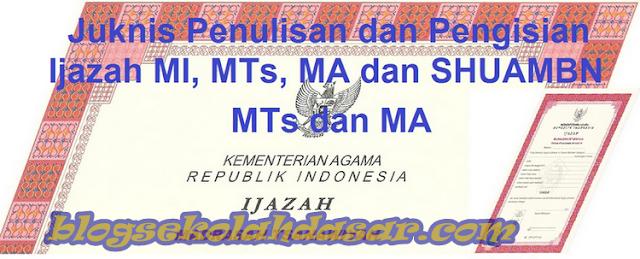 Juknis Penulisan Pengisian Ijazah Jenjang MI MTS MA Terbaru