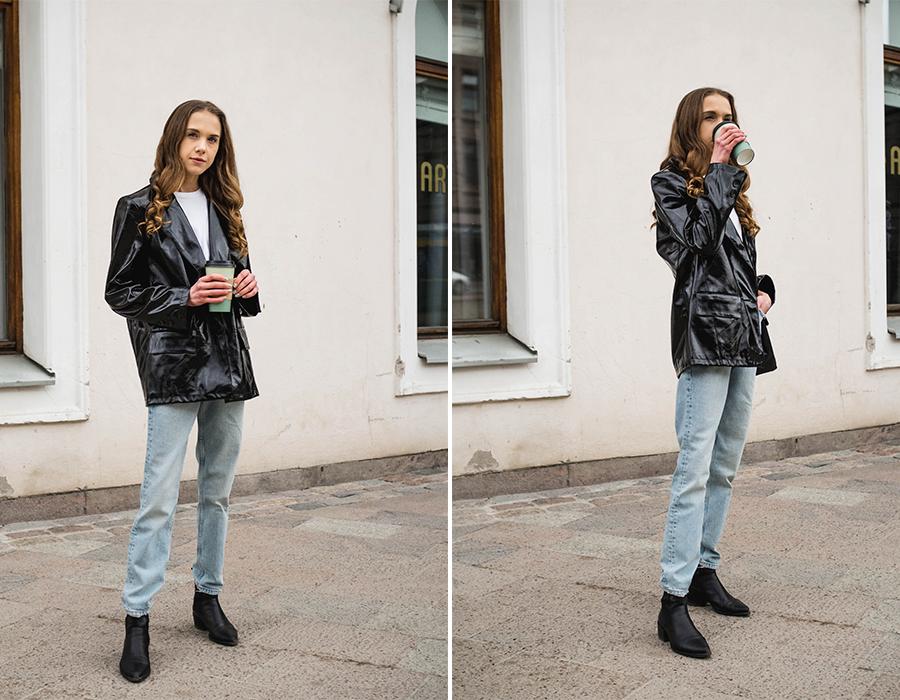 Skandinaavinen ja minimalistinen asukokonaisuus tekonahkableiserin kanssa // Scandinavian and minimalist outfit with a faux leather blazer