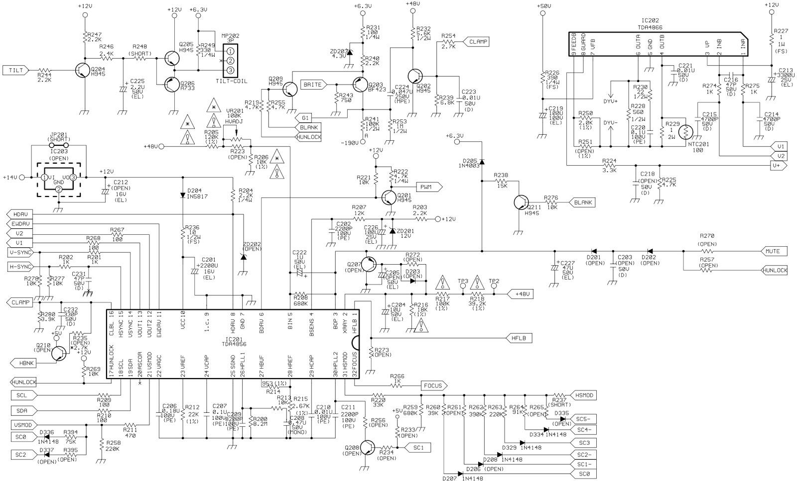 BenQ, Mitsubishi 1786FD2 Diamond View CRT Monitor – Circuit Diagram  Adjustments