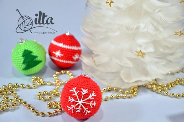 szydełko, święta, Boże Narodzenie, bombka