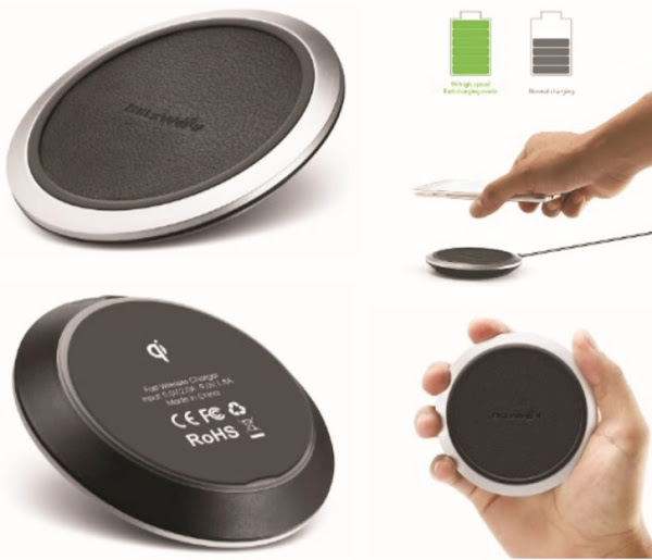 BlitzWolf Qi Wireless Charger: Portable Smart Fast Charging Pad for Smartphones - BW-FWC1