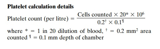 Platelet calculation details