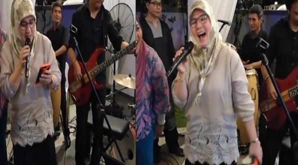 Memang Sporting Lah Tengku Puan Pahang Ni, Rilex Je Bawak lagu JUJUR dari kumpulan RADJA… Live Band lagi tu!..