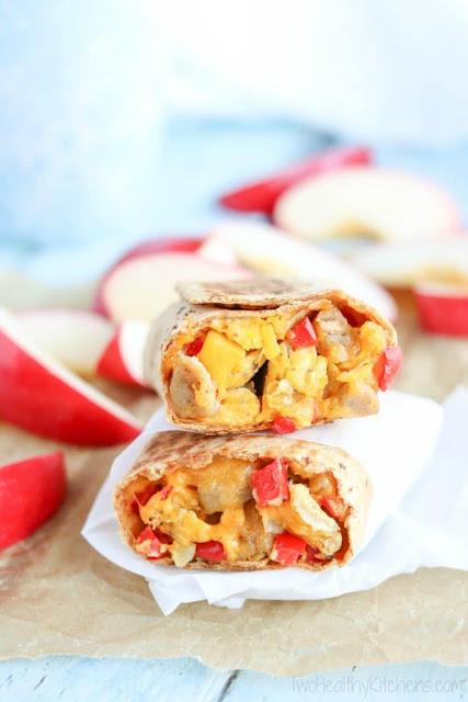 breakfast burritos showing eggy insides